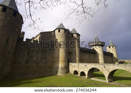 Medieval castle in Carcassonne, France. - stock photo