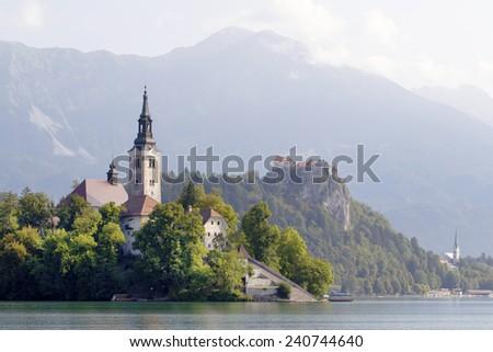 Medieval castle in Lake Bled, Slovenia - stock photo