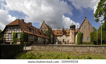 Medieval castle in the village of Bad Bederkesa, Germany - stock photo