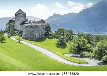 Medieval castle in Vaduz, Liechtenstein - stock photo