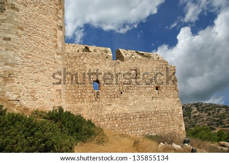 Medieval Castle of Kritinia in Rhodes Greece, Dodecanese: On a hill of 131m above the village of Kritinia, northern Rhodes, there are the ruins of a Medieval Castle.
