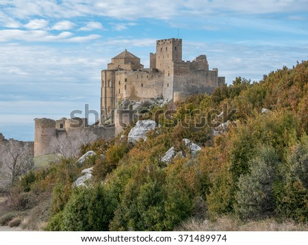 Medieval castle of Loarre in Aragon, Spain - stock photo