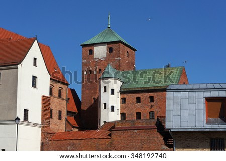 Medieval castle of the Pomeranian Princes in Darlowo, Poland.                             - stock photo