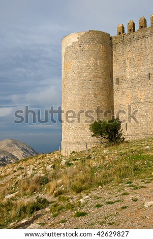 medieval Castle of Torroella de Montgri on the top of a mountain in Girona, Costa Brava