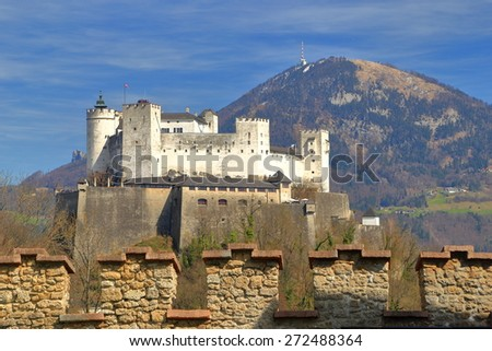 Medieval castle on a hilltop in the mountain region of Salzburg, Austria