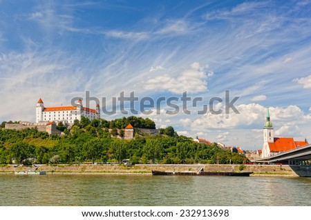 Medieval castle on the hill against the picturesque sky, Bratislava, Slovakia - stock photo
