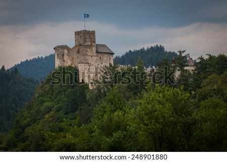 Medieval castle on the hill. Castle Dunajec inthe village Niedzica in Pieniny mountains in Poland. - stock photo