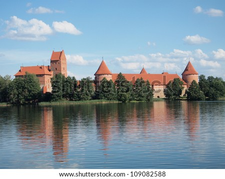 Medieval castle on the island on the lake.