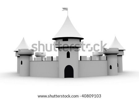 medieval castle on white