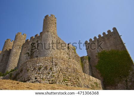 Medieval castle protecting the town of Obidos. Portugal