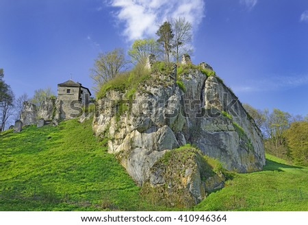 Medieval castle ruins Ojcow, located near Krakow, Poland. It belongs to castles end fortresses: Eagles' Nests Trail - stock photo