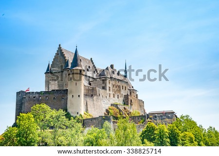 Medieval Castle Vianden, build on top of the mountain in luxemburg - stock photo