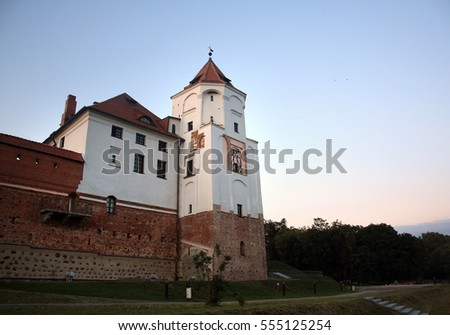Medieval castle with red bricks