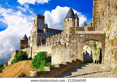 medieval castles of France - Carcassonne, most biggest forteress - stock photo