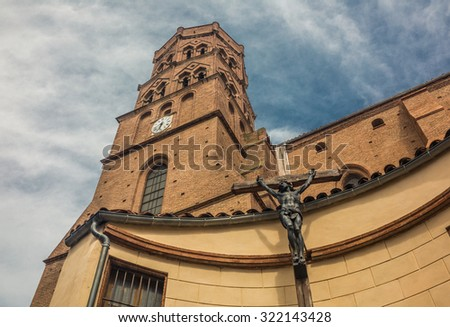 Medieval Cathedral inToulouse, France - stock photo