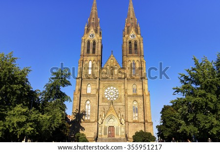 Medieval cathedral of Saint Ludmila in Prague in the Czech republic on a sunny summer day