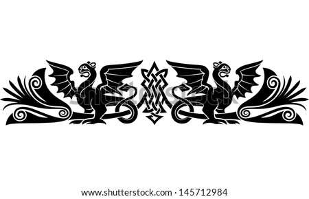 Medieval Celtic pattern with bizarre creatures look like griffins or dragons. Good as an armband tattoo. Raster image. Find an editable version in my portfolio.  - stock photo