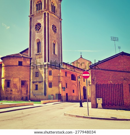 Medieval Church in the Small Town in Piedmont, italy, Instagram Effect - stock photo