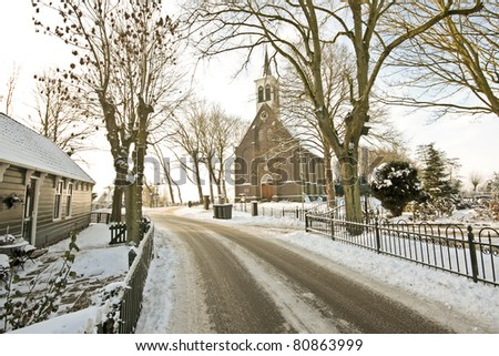 Medieval church in the snowy countryside from the Netherlands