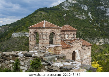 Medieval church inside Asen's Fortress - stock photo