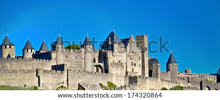 medieval city of Carcassonne, Languedoc Roussillon, France - stock photo