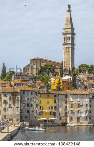 Medieval City of Rovinj and Saint Euphemia Cathedral from the sea. Istria Peninsula, Croatia - stock photo