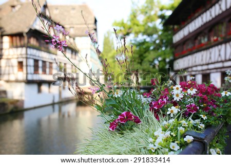 Medieval cityscape of timber-framed buildings in the Petite-France district alongside the river Ill on sunny summer day. Focus on flowers on the bridge. France, Alsace region, Strasbourg - stock photo