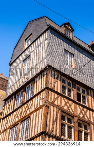 Medieval classical architecture of Rouen, the capital of the region of Upper Normandy and the historic capital city of Normandy