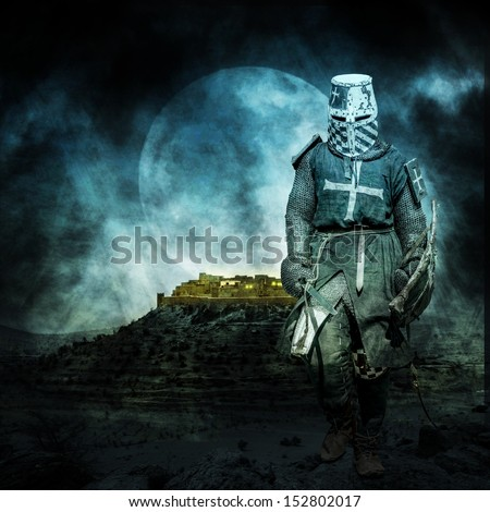 Medieval crusader walking at night with moon in the background