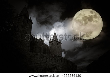 Medieval european castle in a full moon night. Added some digital noise. - stock photo