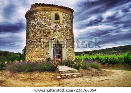 Medieval farmhouse and vineyards in Vaucluse at sunset time, Provence, France. Filtered image  - stock photo