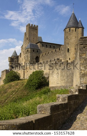 Medieval fortress and walled city of Carcassonne in south west France. Founded by the Visigoths in the 5th century, it was restored in 1853 and is now a UNESCO World Heritage Site.