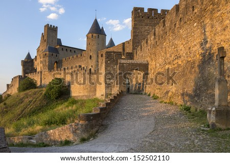 Medieval fortress and walled city of Carcassonne in the Languedoc-Roussillon region of south west France.  It was restored in 1853 and is now a UNESCO World Heritage Site. - stock photo
