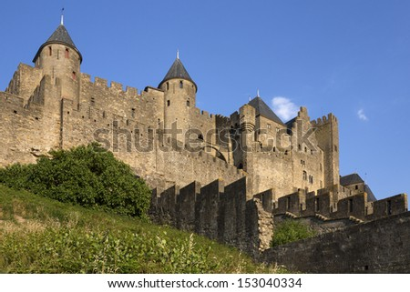 Medieval fortress and walled city of Carcassonne in the Languedoc-Roussillon region of southwest France. it was restored in 1853 and is now a UNESCO World Heritage Site. - stock photo