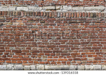 Medieval Fortress Antique Brick-Stone Rampart Detail - stock photo
