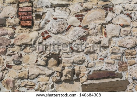 Medieval Fortress Antique Stone-Brick Rampart Detail - stock photo
