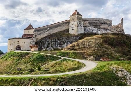 Medieval fortress in Rasnov, Transylvania, Brasov, Romania - stock photo