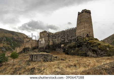 Medieval fortress of Khertvisi near the cave city of Vardzia, Georgia