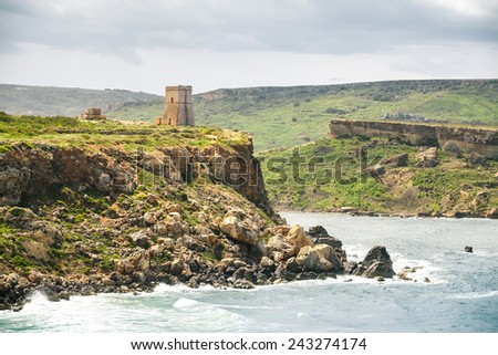 Medieval fortress on the hill at golden bay, Malta - stock photo
