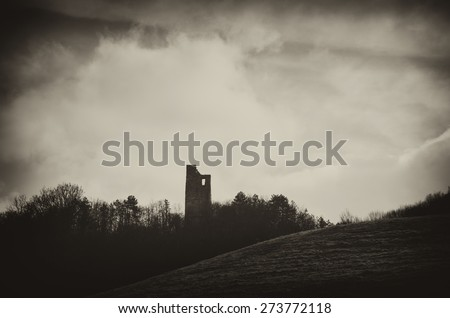 medieval fortress ruins in forest dark landscape - stock photo