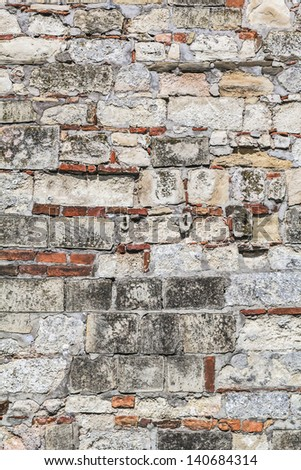 Medieval Fortress Stone-Brick Rampart Detail - stock photo