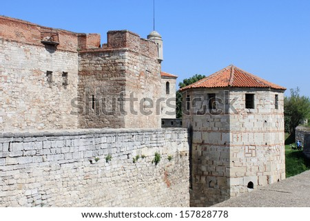 Medieval Fortress Wall and Towers - stock photo