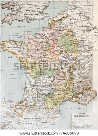 Medieval France old map (10th - 14th century). By Paul Vidal de Lablache, Atlas Classique, Librerie Colin, Paris, 1894 - stock photo