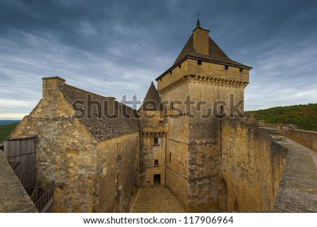 Medieval french chateau in the dordogne region of France - stock photo