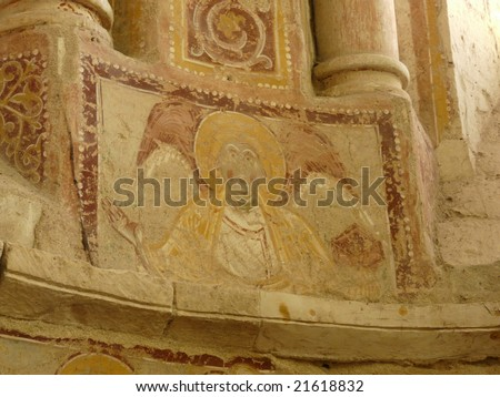 Medieval frescoes that are a UNESCO World Heritage site at the church at Saint Savin in France - stock photo