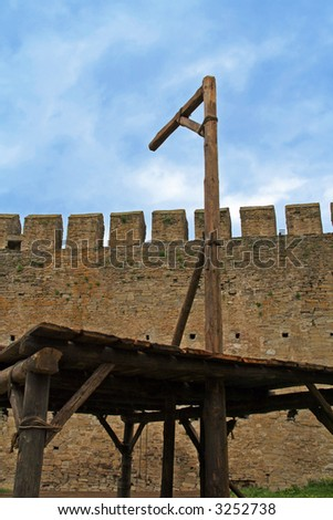 Medieval gallows used for hanging criminals - stock photo