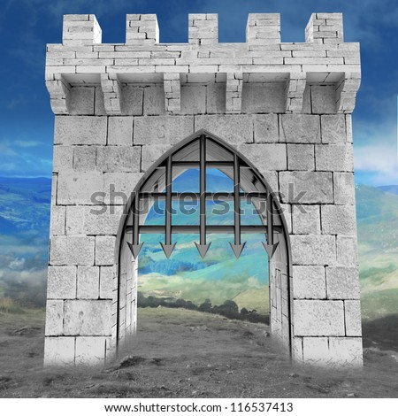 medieval gate with steel lattice opening with mountain landscape illustration