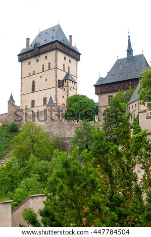Medieval gothic royal castle  Karlstejn near Prague( Czech Republic) was built in the time of Charles IV - stock photo