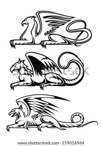 Medieval gryphons set for tattoo, mascot or heraldry design. Vector version also available in gallery - stock photo