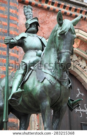 medieval guardian warrior of Bremen at Bremen historic centre, Germany - stock photo